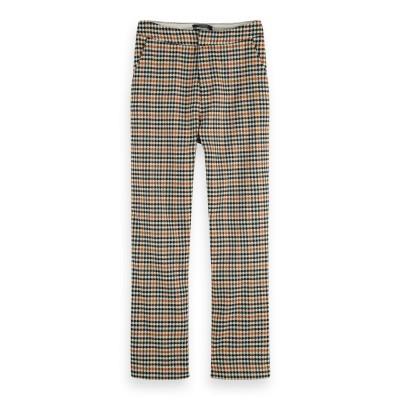 A/Pantalon motif pied- de- poule taille haute