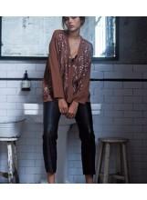 CHARLIE JOE blouse en SEQUINS Ambre