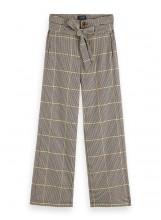 A/Pantalon large ceinturé à carreaux