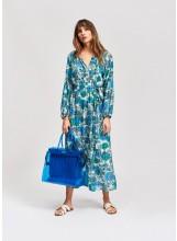 Robe chemise ESSENTIEL mi-longue à fleurs en soie et coton