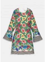 ESSENTIEL Mini robe TERRY écrue à rayures et à fleurs