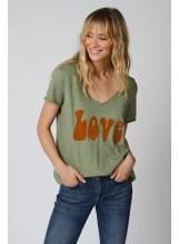 A/Tee-shirt LOVE oil green