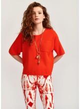 A/Pull orange à manches cortes zippé dos