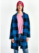 A/ESSENTIEL Manteau à carreaux noirs  et bleus