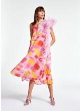Robe ESSENTIEL midi plissée rose et jaune